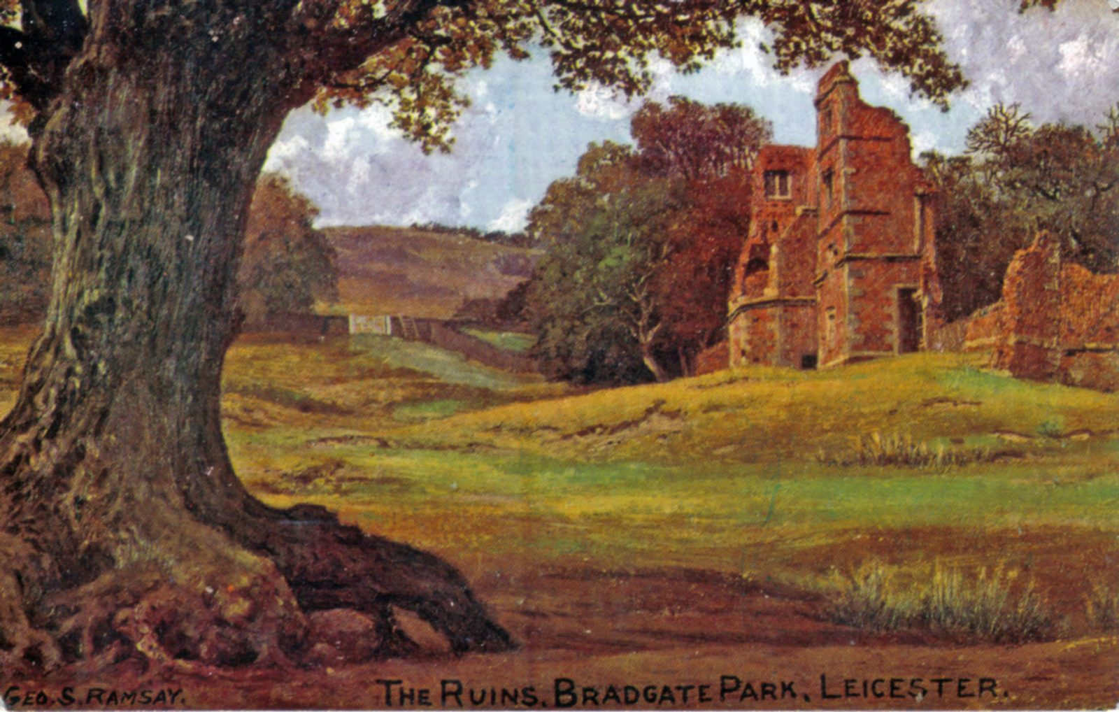 Bradgate Park, Leicester. Undated: Painting of the ruins in Bradgate Park. Taken from an oil painting by Geo. S. Ramsey. (File:1002)