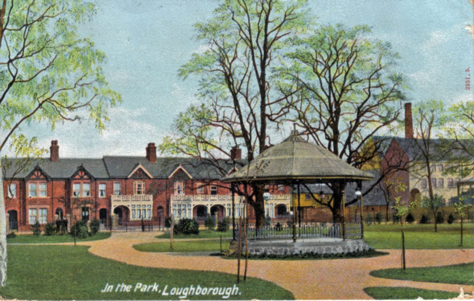 Queens Park, Loughborough. 1901-1920: General view of the park and bandstand - erected in 1902. Franked 1904 (File:1010)