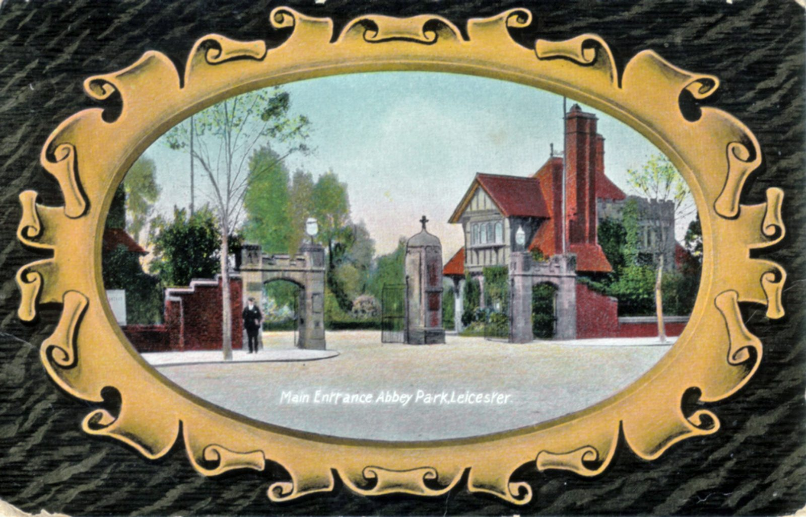 Abbey Park, Leicester. 1901-1920: Main entrance gates. Franked 1909 (File:1012)