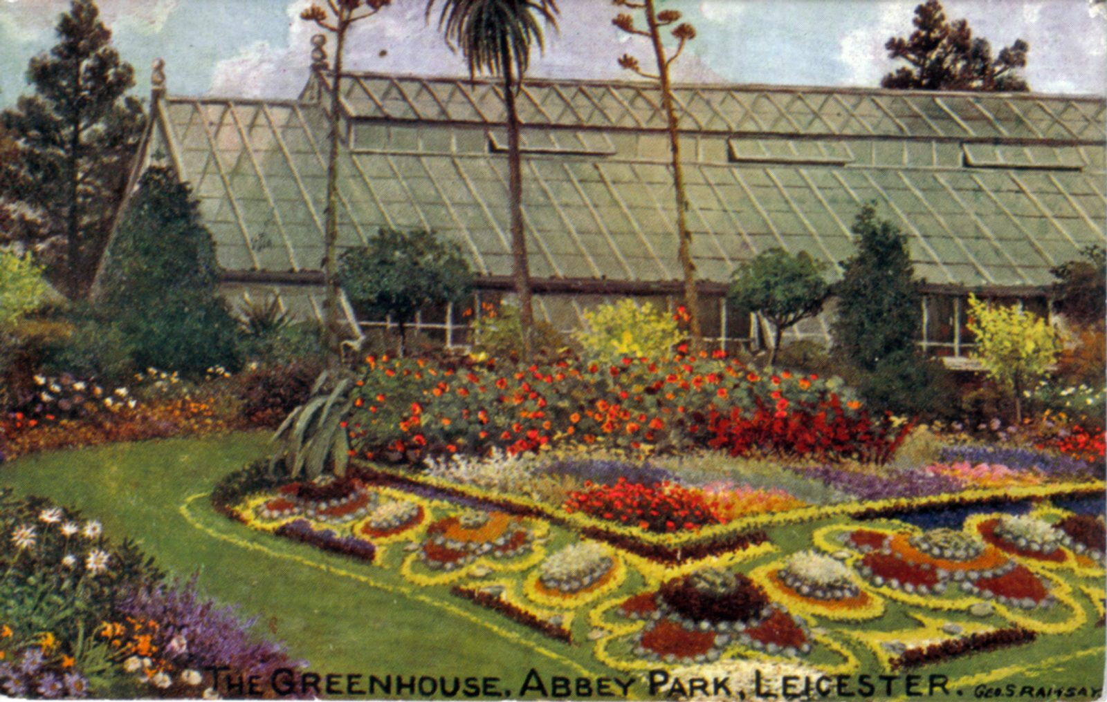 Abbey Park, Leicester. 1901-1920: The greenhouse with carpet bedding. Taken from an oil painting by Geo. S. Ramsey. Franked 1908 (File:1020)