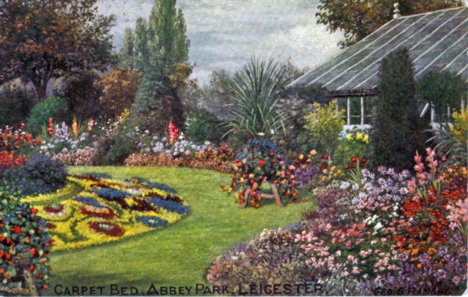 Abbey Park, Leicester. 1901-1920: The greenhouse with carpet bedding. Taken from an oil painting by Geo. S. Ramsey. Franked 1905 (File:1022)