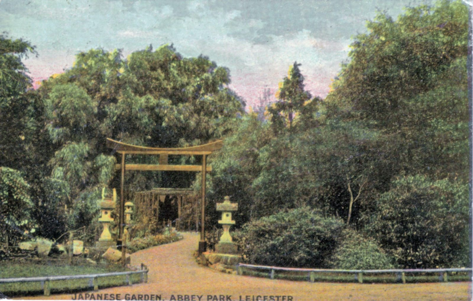 Abbey Park, Leicester. 1901-1920: Entrance to Japanese Garden. Franked 1910 (File:1023)