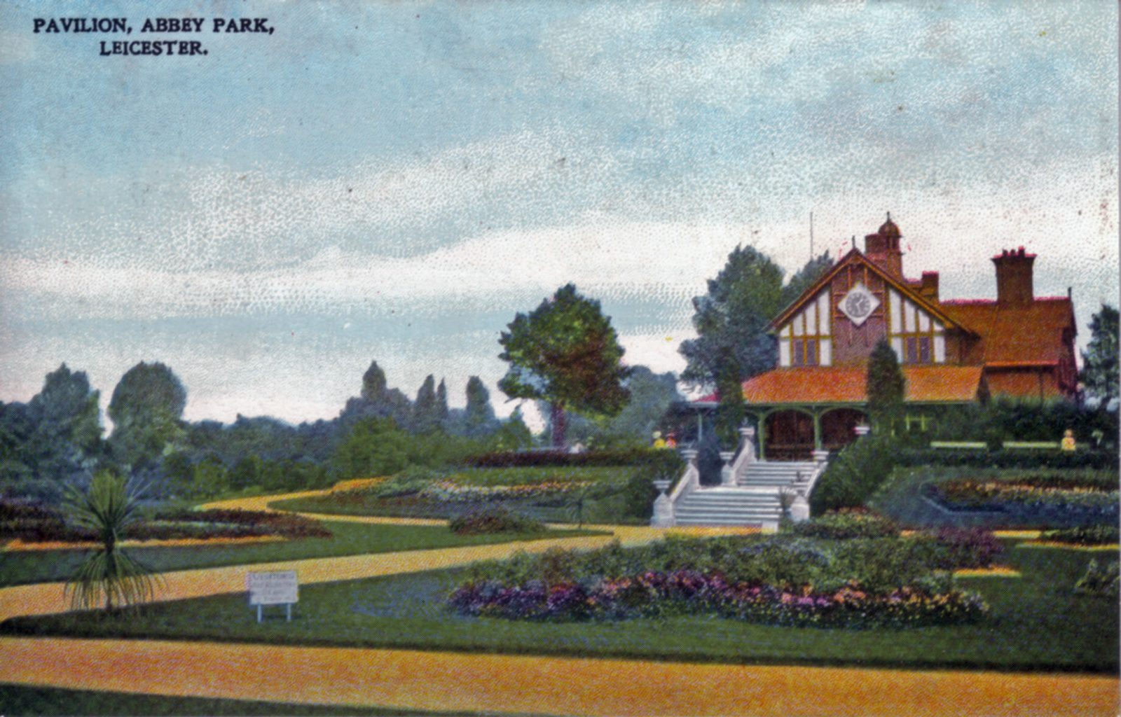 Abbey Park, Leicester. 1901-1920: Pavilion and carpet bedding. Franked 1906 (File:1027)