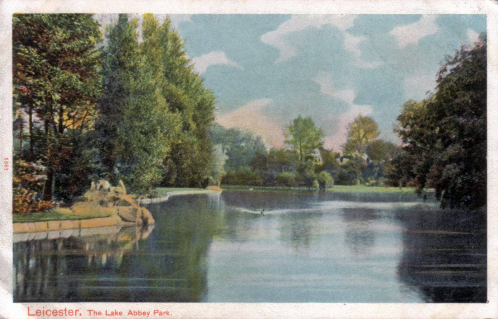 Abbey Park, Leicester. Undated: The lake with trees. (File:1036)