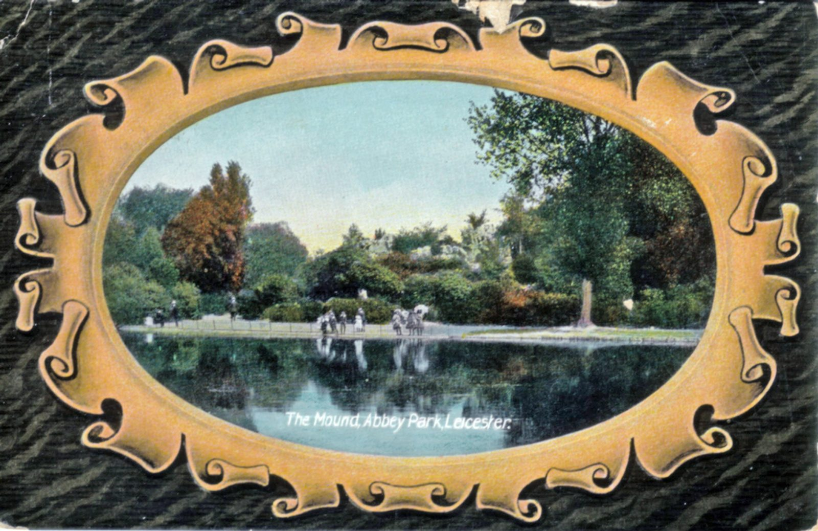 Abbey Park, Leicester. 1901-1920: Looking across the lake to the mount. Children reflected in water. Franked 1909 (File:1037)