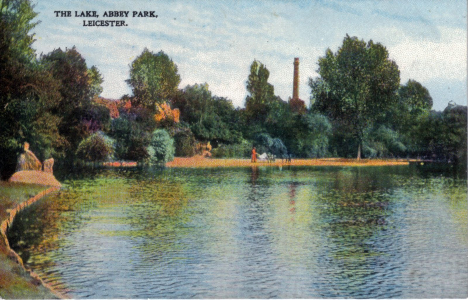 Abbey Park, Leicester. 1901-1920: The lake with distant figures. (File:1038)