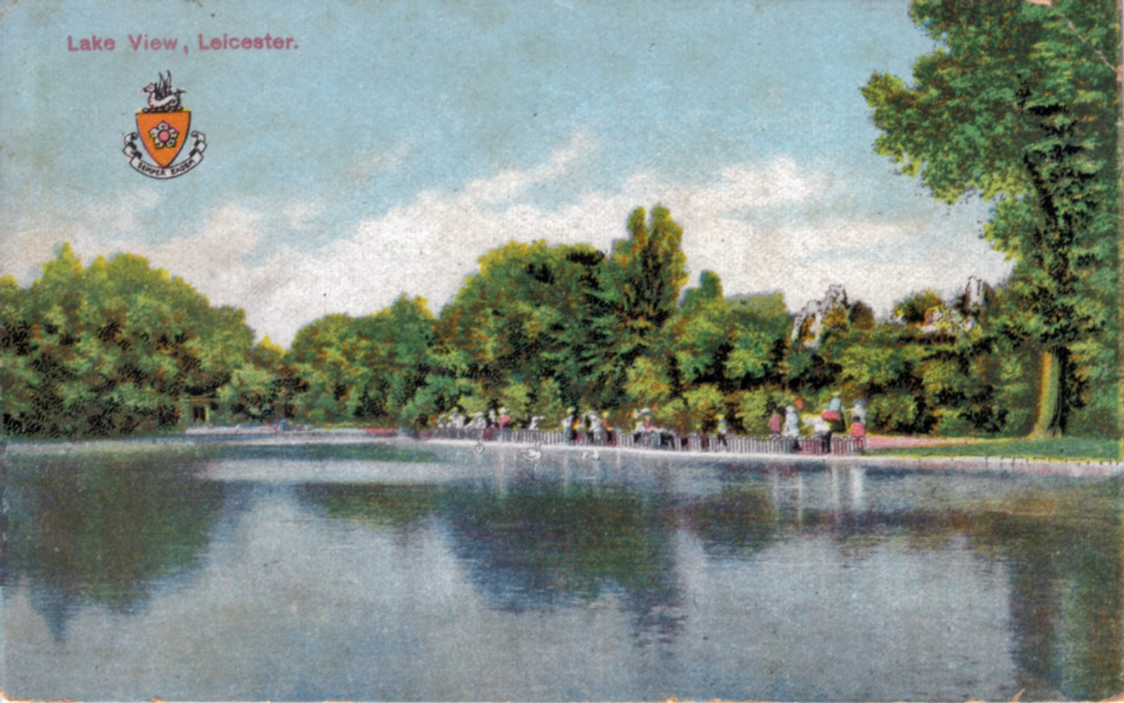 Abbey Park, Leicester. 1921-1940: The lake with distant figures. Franked 1933 (File:1039)