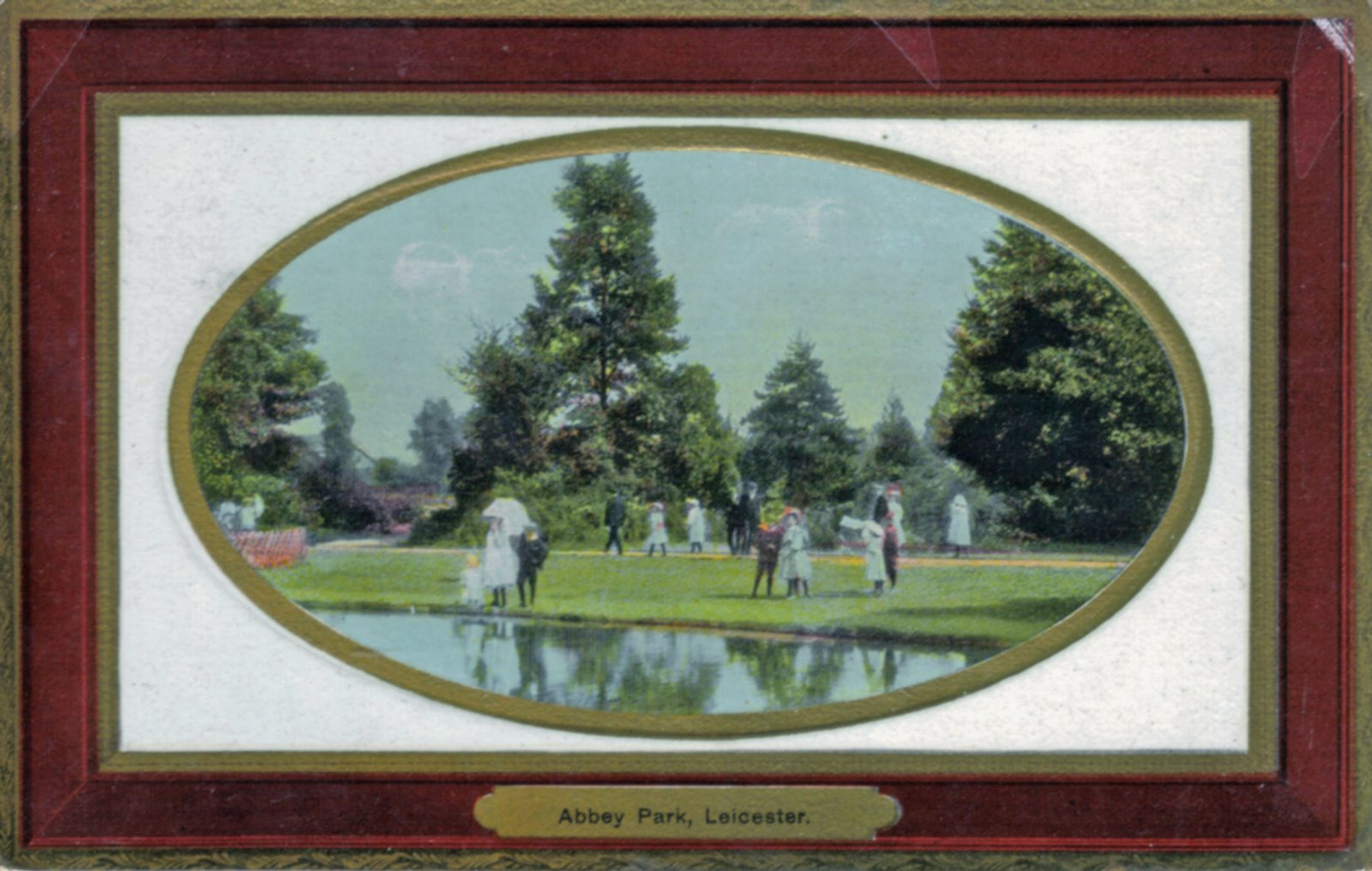 Abbey Park, Leicester. 1901-1920: The lake with reflected figures. Franked 1910 (File:1040)