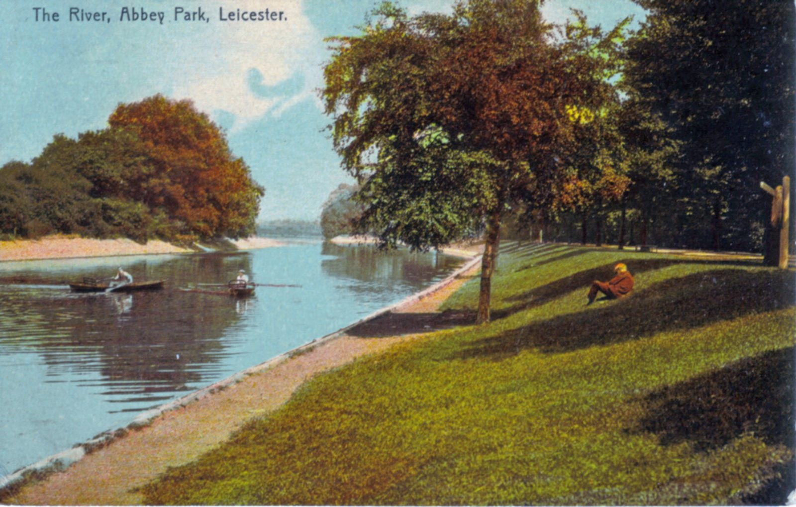 Abbey Park, Leicester. 1921-1940: The River Soar with boats. Franked 1911 (File:1043)