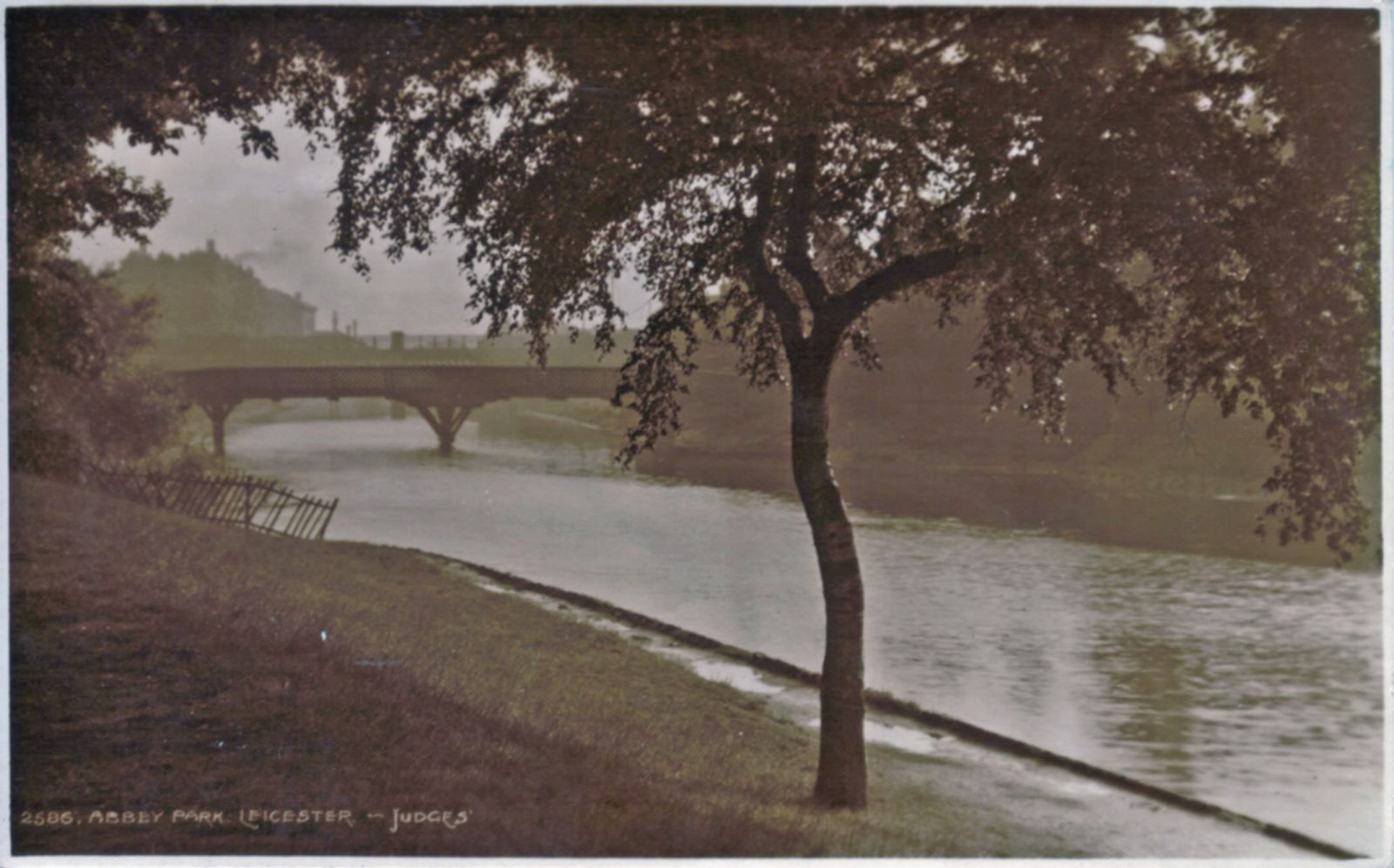 Abbey Park, Leicester. Undated: The River Soar and bridge. Posted 1908-10 (File:1044)
