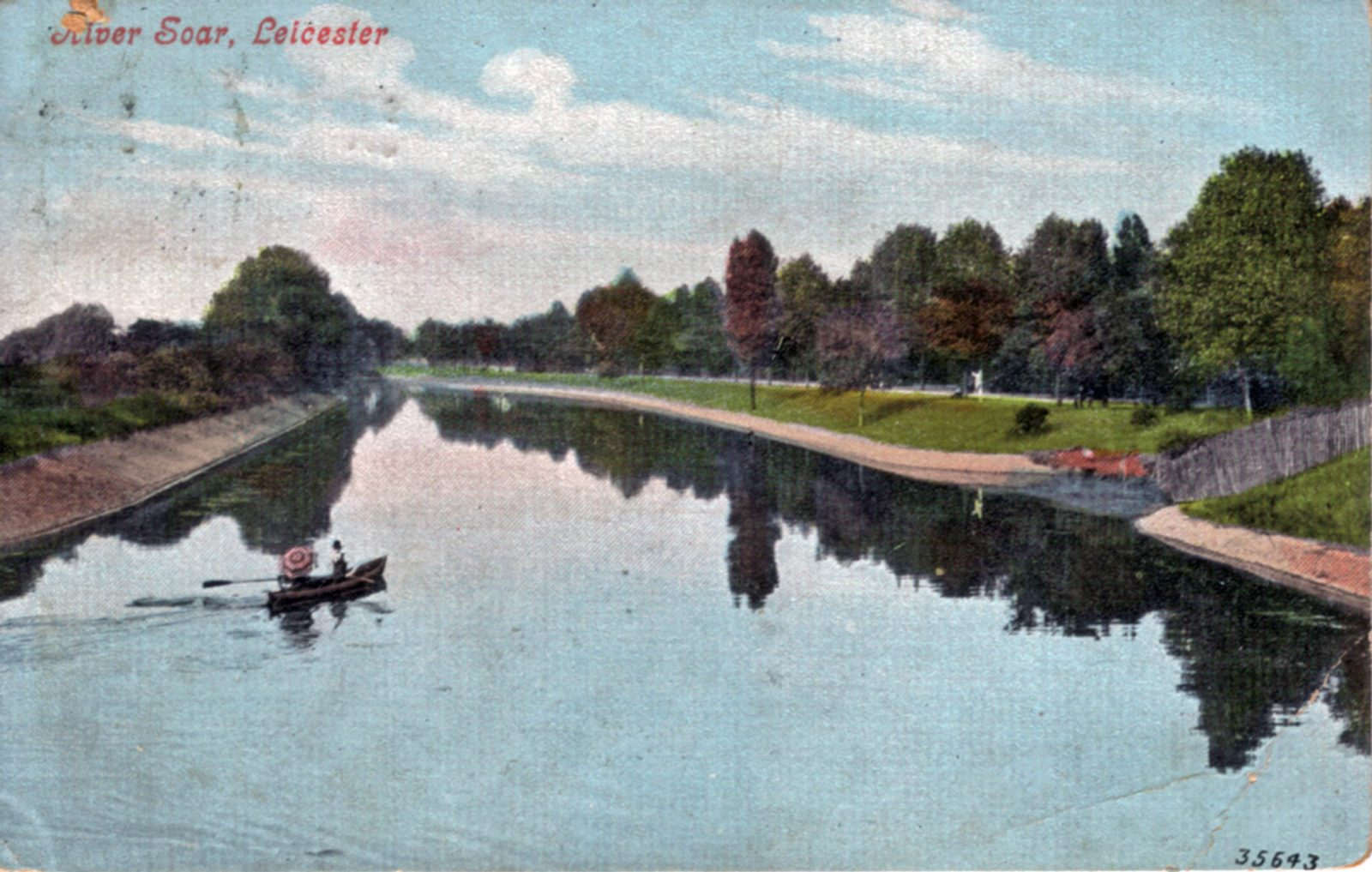 Abbey Park, Leicester. 1901-1920: The River Soar with foreground boat. Franked 1908 (File:1045)