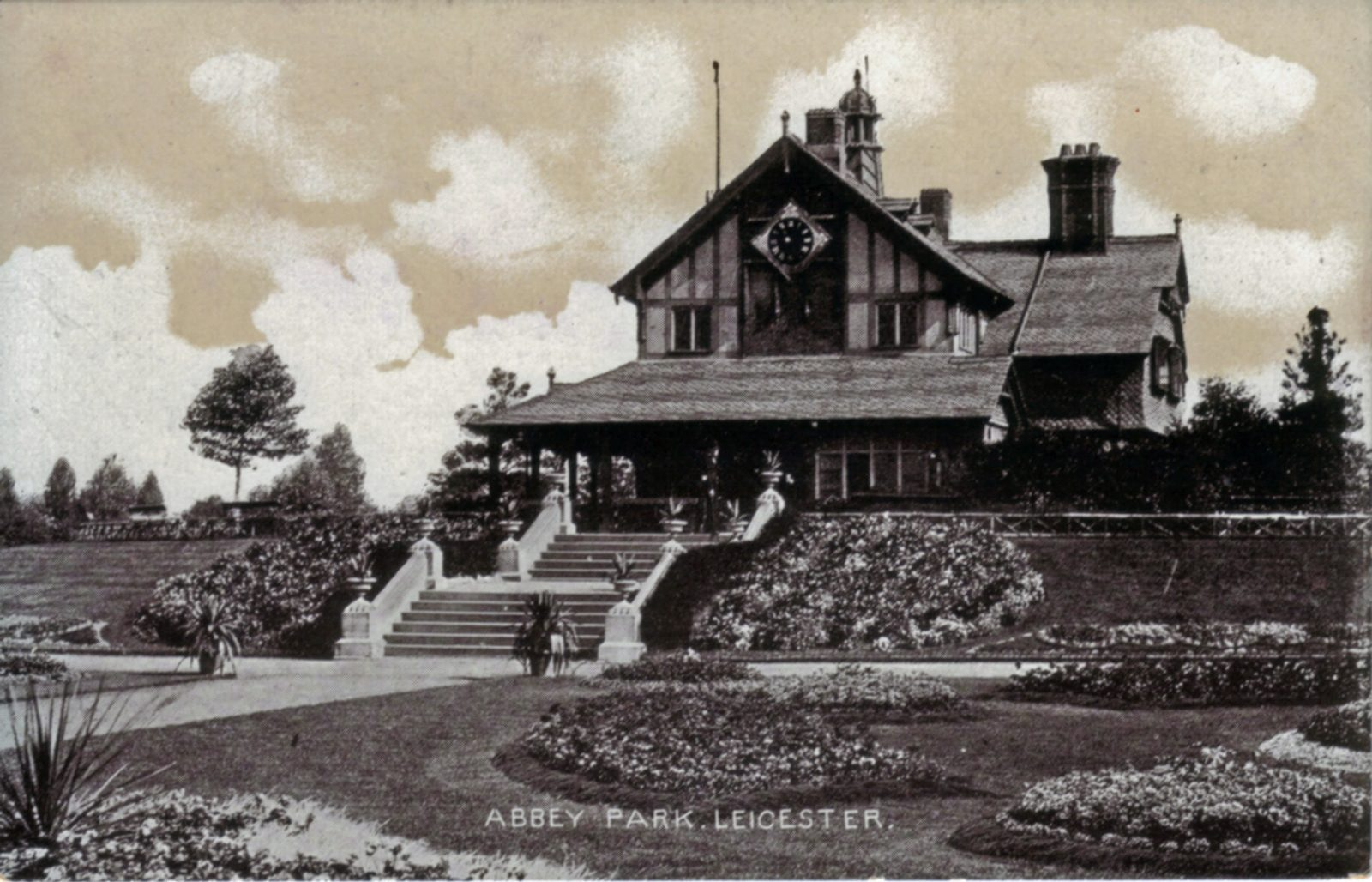 Abbey Park, Leicester. Undated: The Pavilion and carpet bedding. Similar to view to 1052 but earlier - trees smaller. (File:1051)