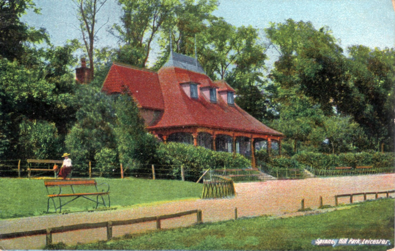 Spinney Hill Park, Leicester. 1901-1920: The Pavilion. Adult on seat. (File:1056)