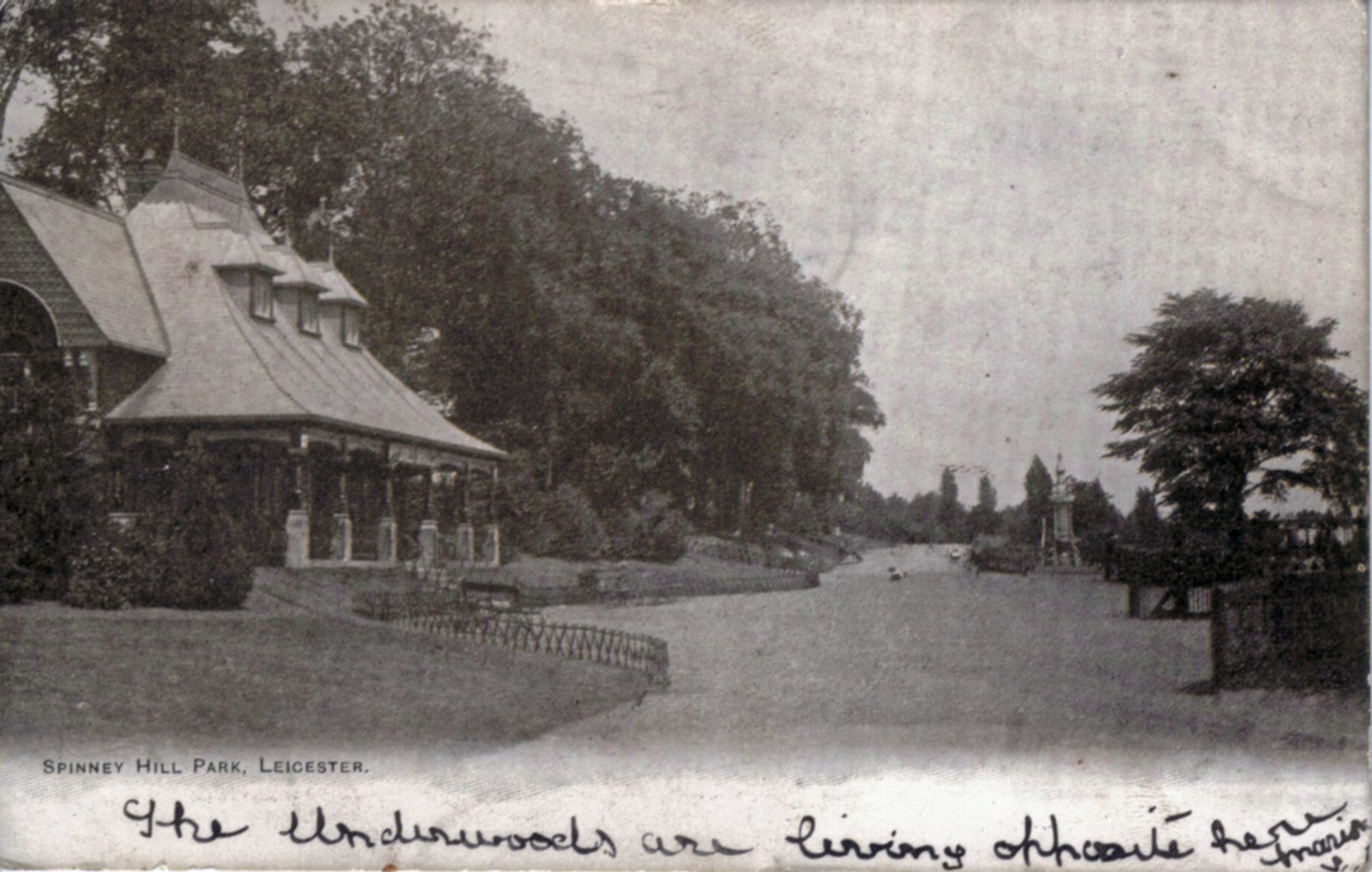 Spinney Hill Park, Leicester. Undated: The Pavilion and broad avenue. Franked 1903 (File:1059)