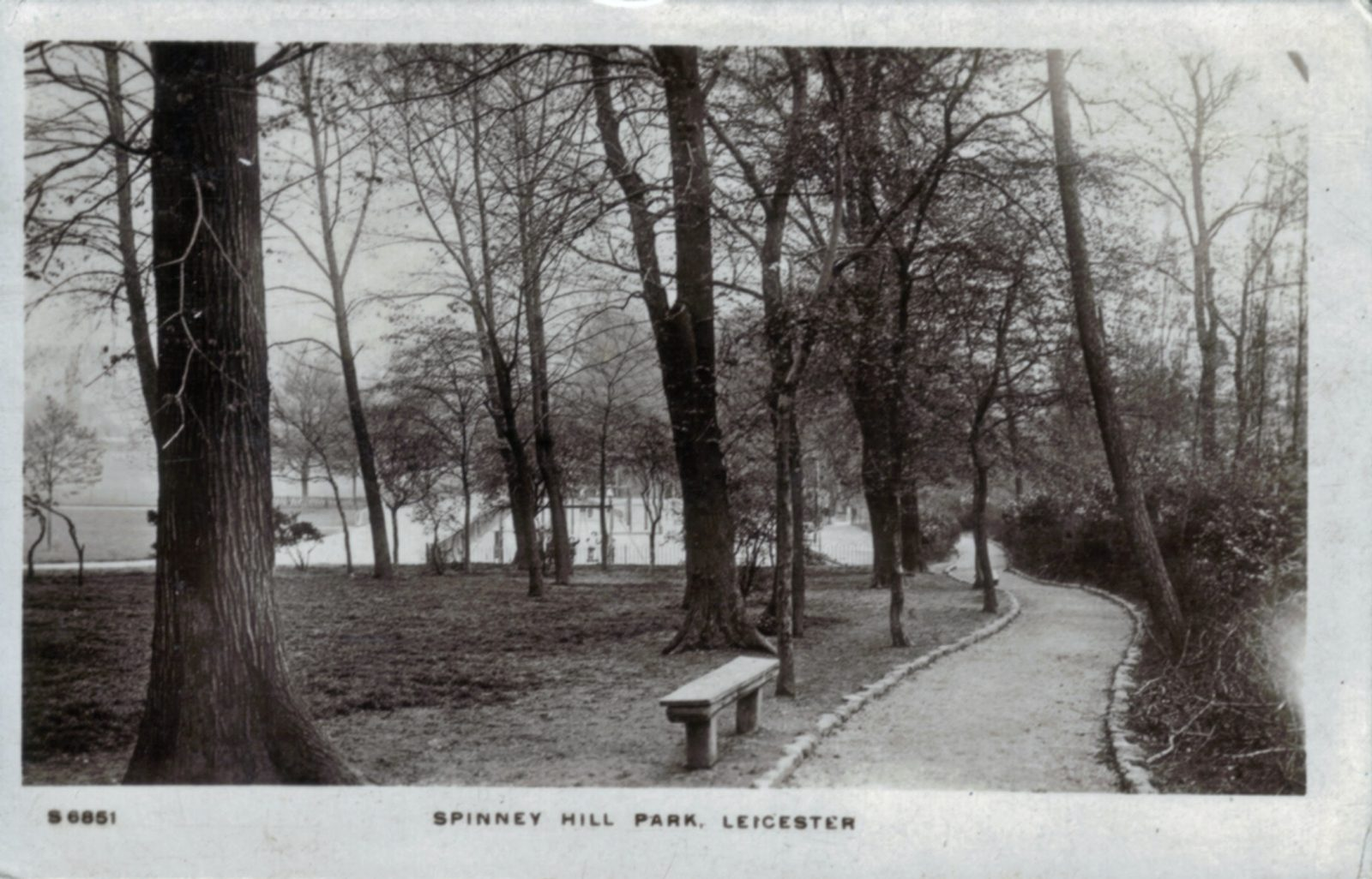 Spinney Hill Park, Leicester. Undated: Path, trees and pond. Posted 1911-12 (File:1062)