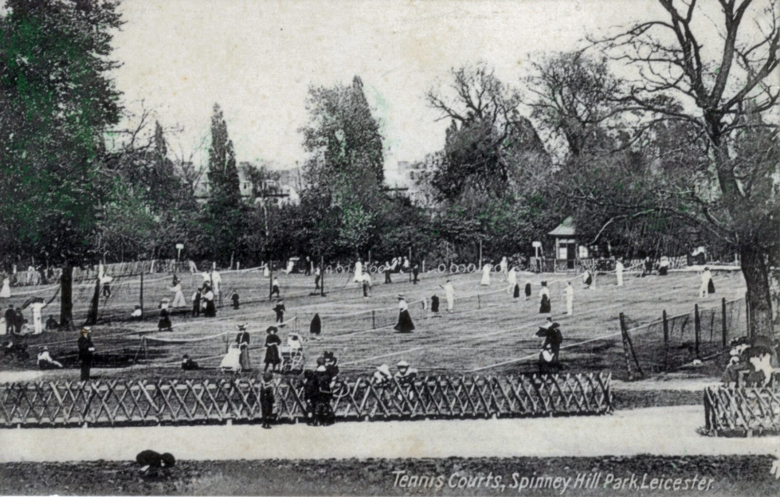 Spinney Hill Park, Leicester. 1901-1920: Tennis courts with adults playing. (File:1064)