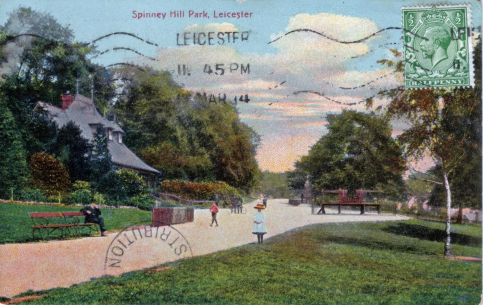 Spinney Hill Park, Leicester. 1901-1920: Pavilion and broad avenue. Children walking. Man sitting. Franked 1904 (File:1066)