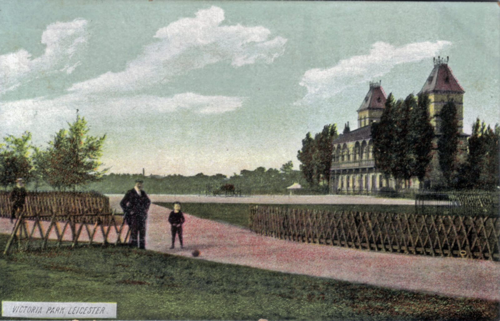 Victoria Park, Leicester. 1901-1920: Pavilion with man and boy. Rustic fencing. (File:1071)