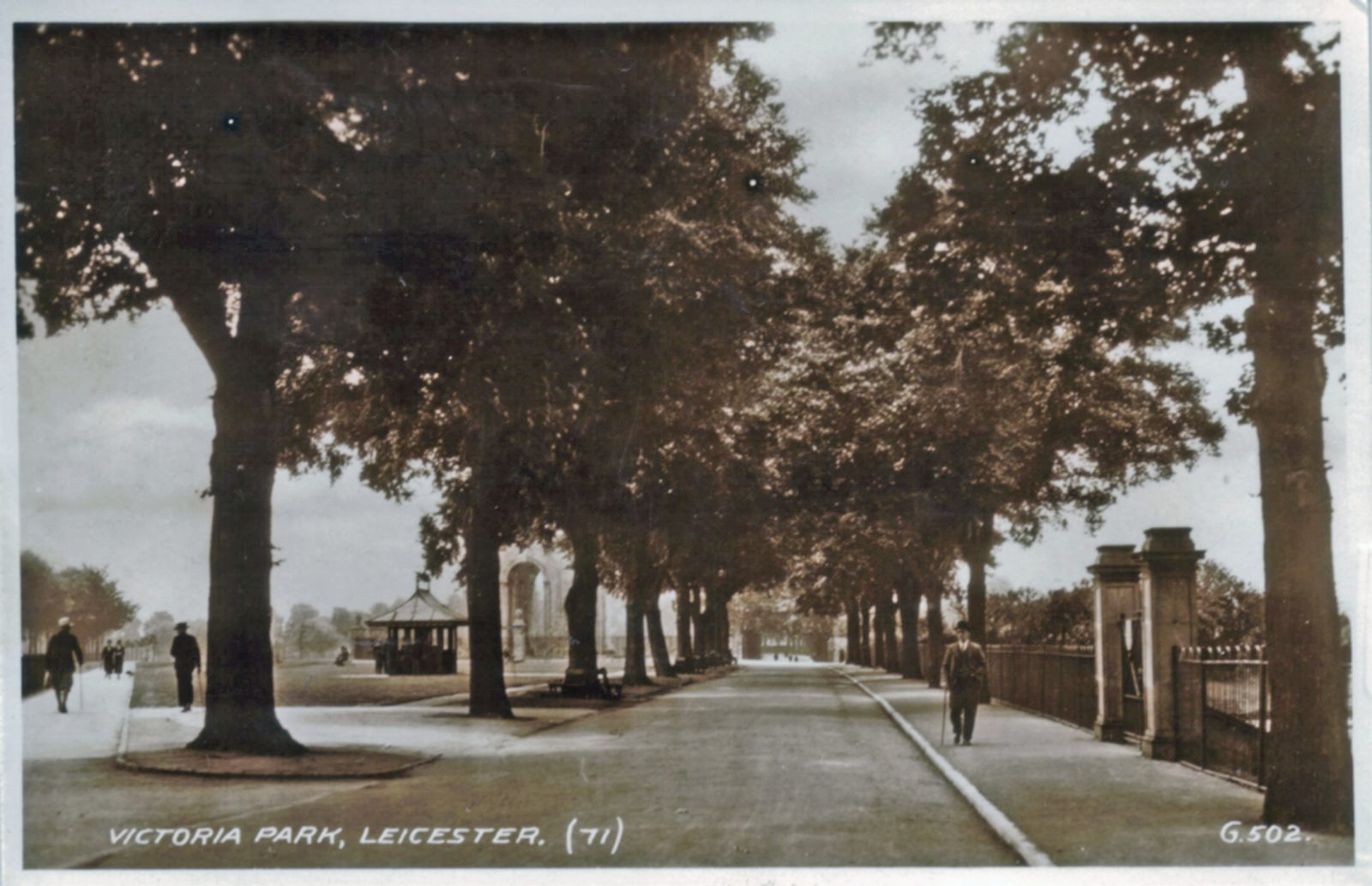 Victoria Park, Leicester. Undated: Broad walk and gazebo. (File:1083)