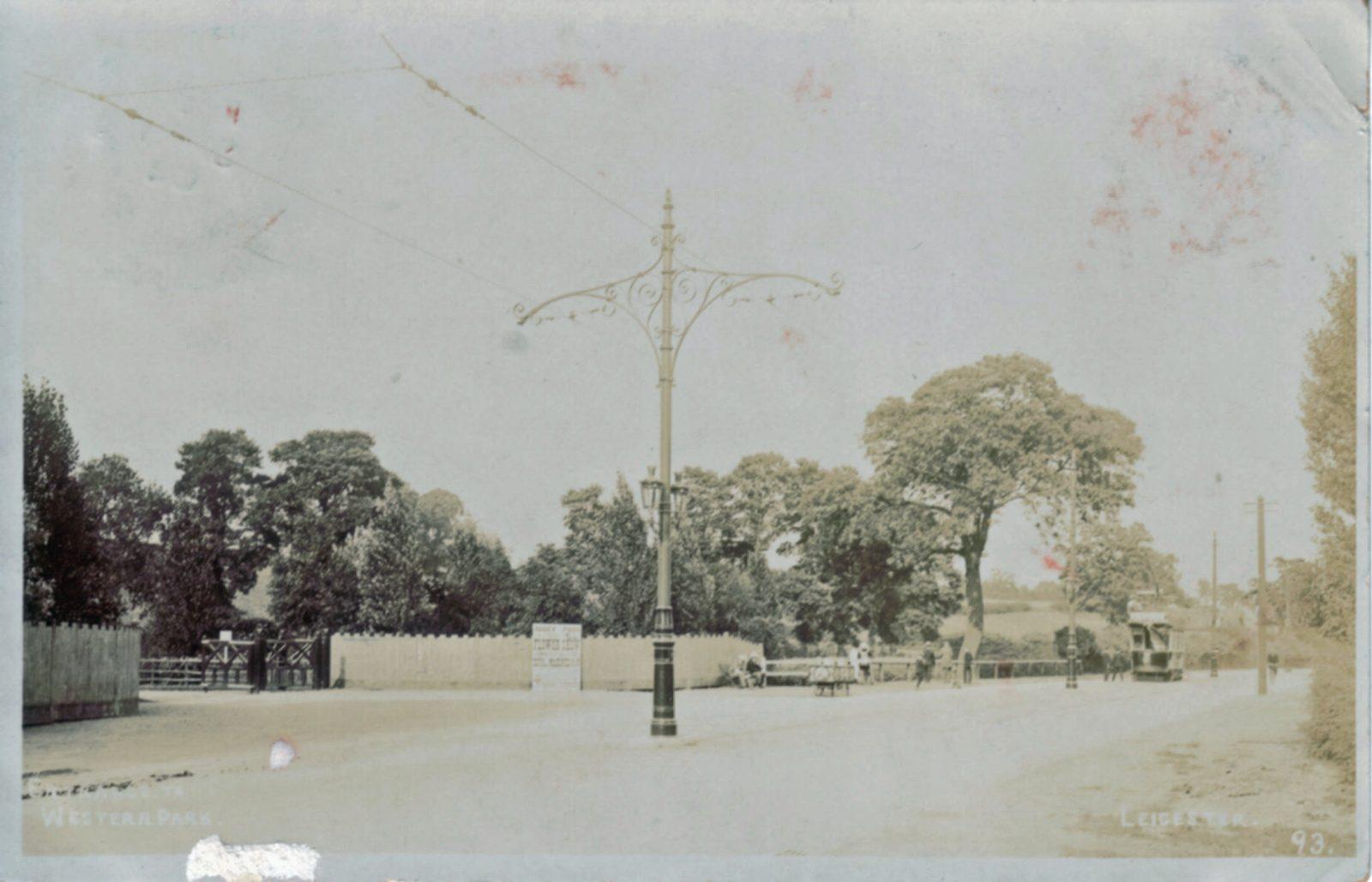 Western Park, Leicester. 1901-1920: Original Entrance Gates. Tram on Hinckley Road. Franked 1904 (File:1089)