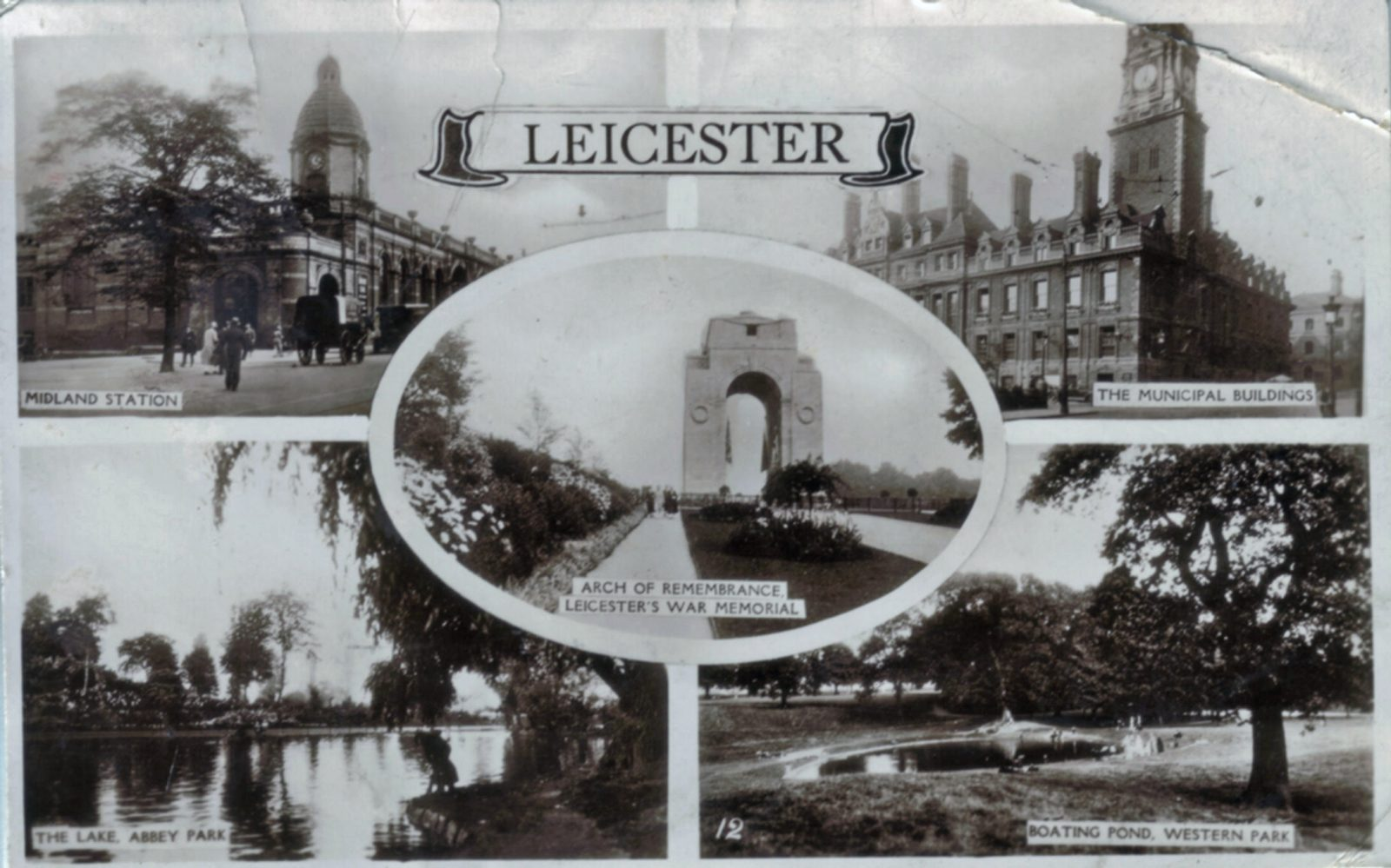 Leicester City, Leicester. 1921-1940: Various views. Franked 1933 (File:1098)