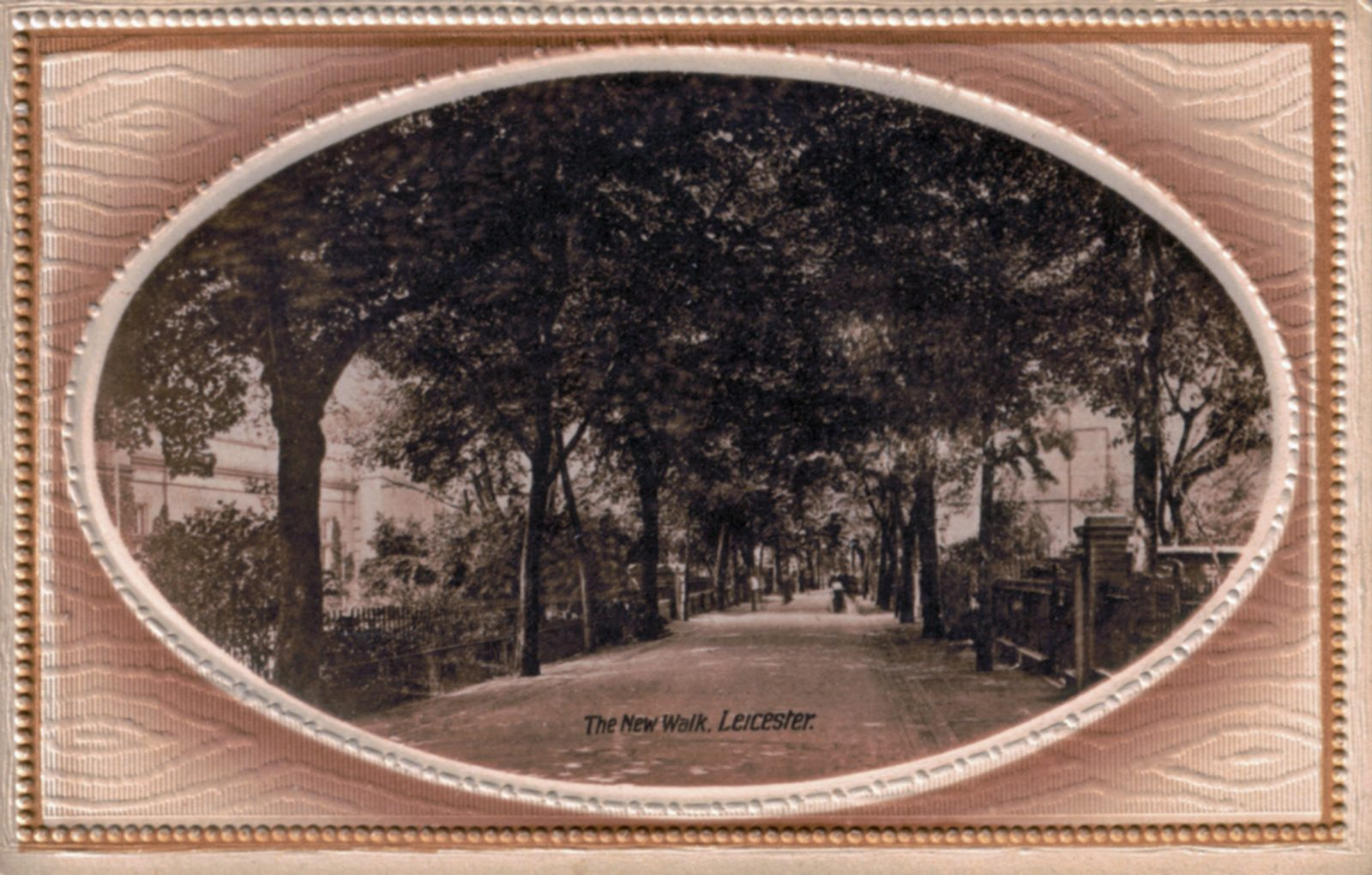 New Walk, Leicester. 1901-1920: Oval image, showing New Walk extending into distance. Houses to either side. (File:1108)
