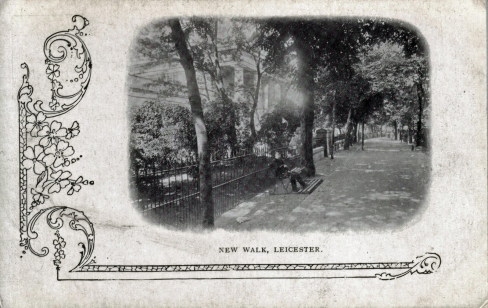 New Walk, Leicester. 1901-1920: General view in vignette format. Seated figure on foreground bench. (File:1109)