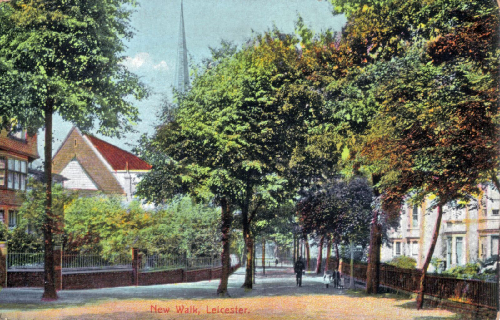 New Walk, Leicester. 1901-1920: General view with houses to either side. (File:1111)