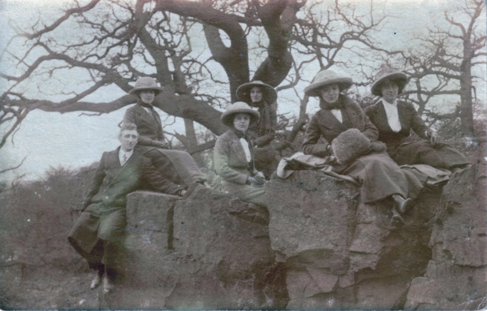 Bradgate Park, Leicester. 1901-1920: Edwardian walkers - male and female, sitting on rocks. (File:1125)