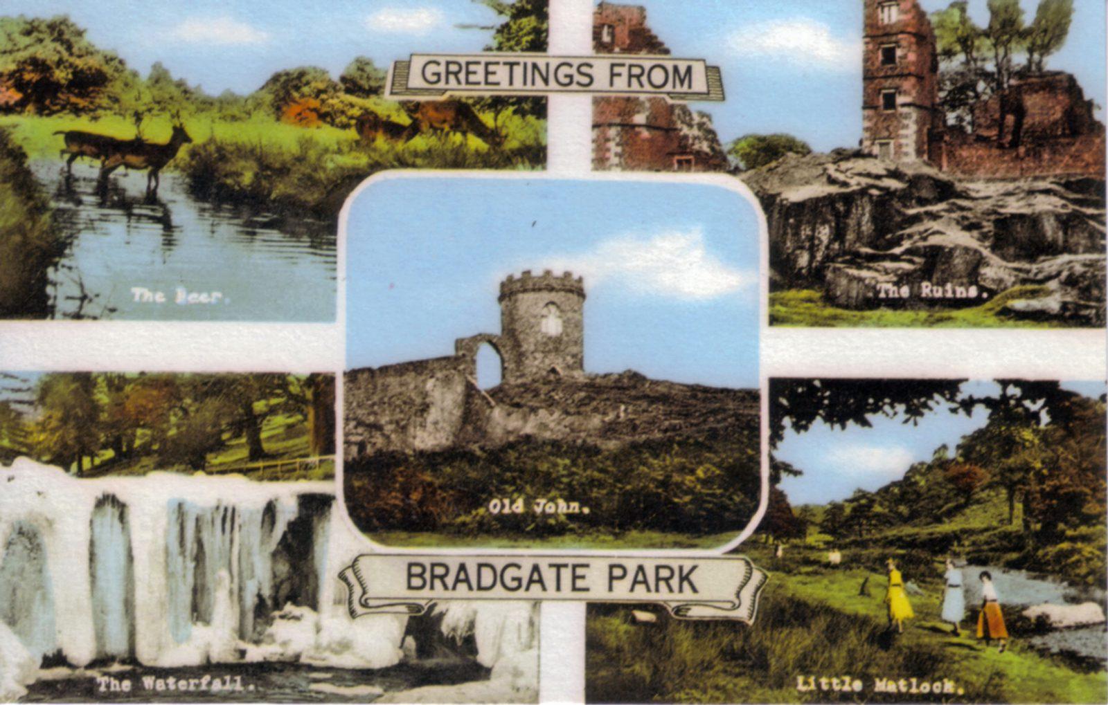 Bradgate Park, Leicester. 1941-1960: General views: river, deer, Old John, Ruins, Waterfall, Little Matlock. (File:1132)