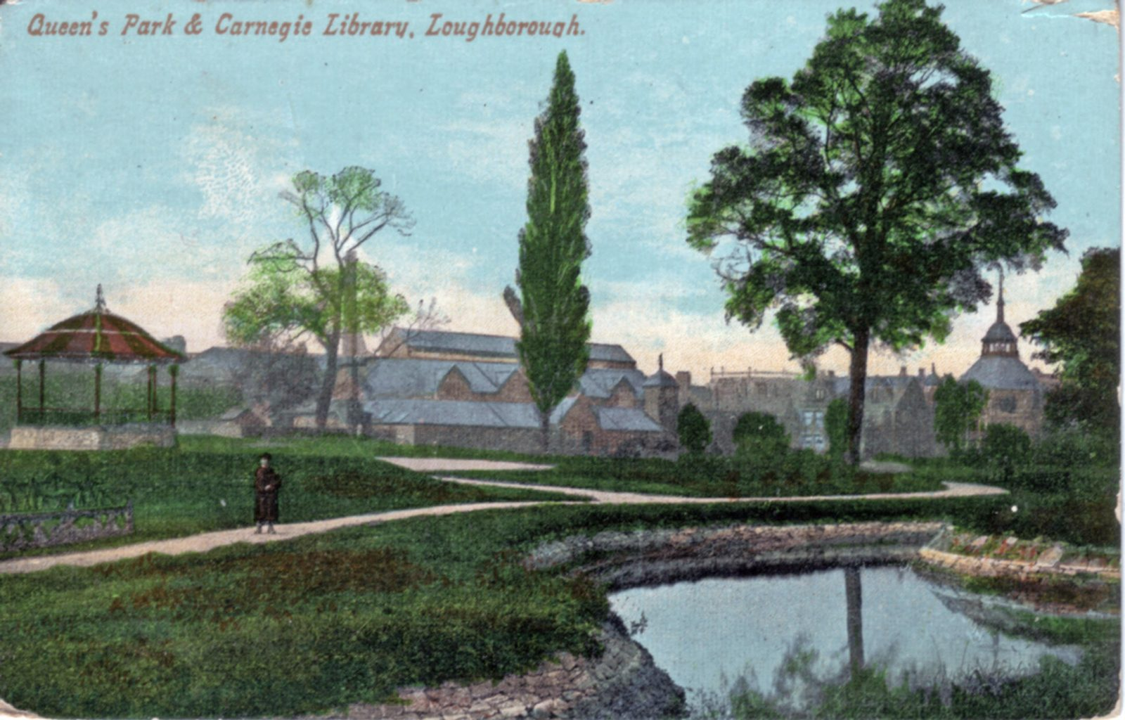Queens Park, Loughborough. 1901-1920: Looking across park to Carnegie Library. Bandstand in middle ground. (File:1139)