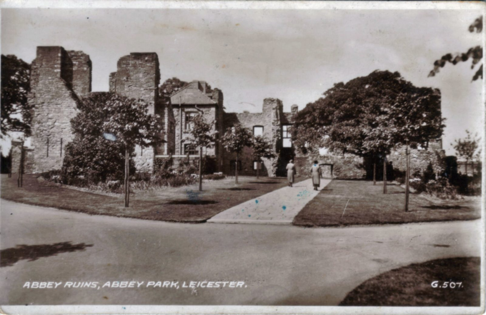 Abbey Park, Leicester. Undated: Ruins with a more modern tree lined entrance to the ruins. (File:1185)