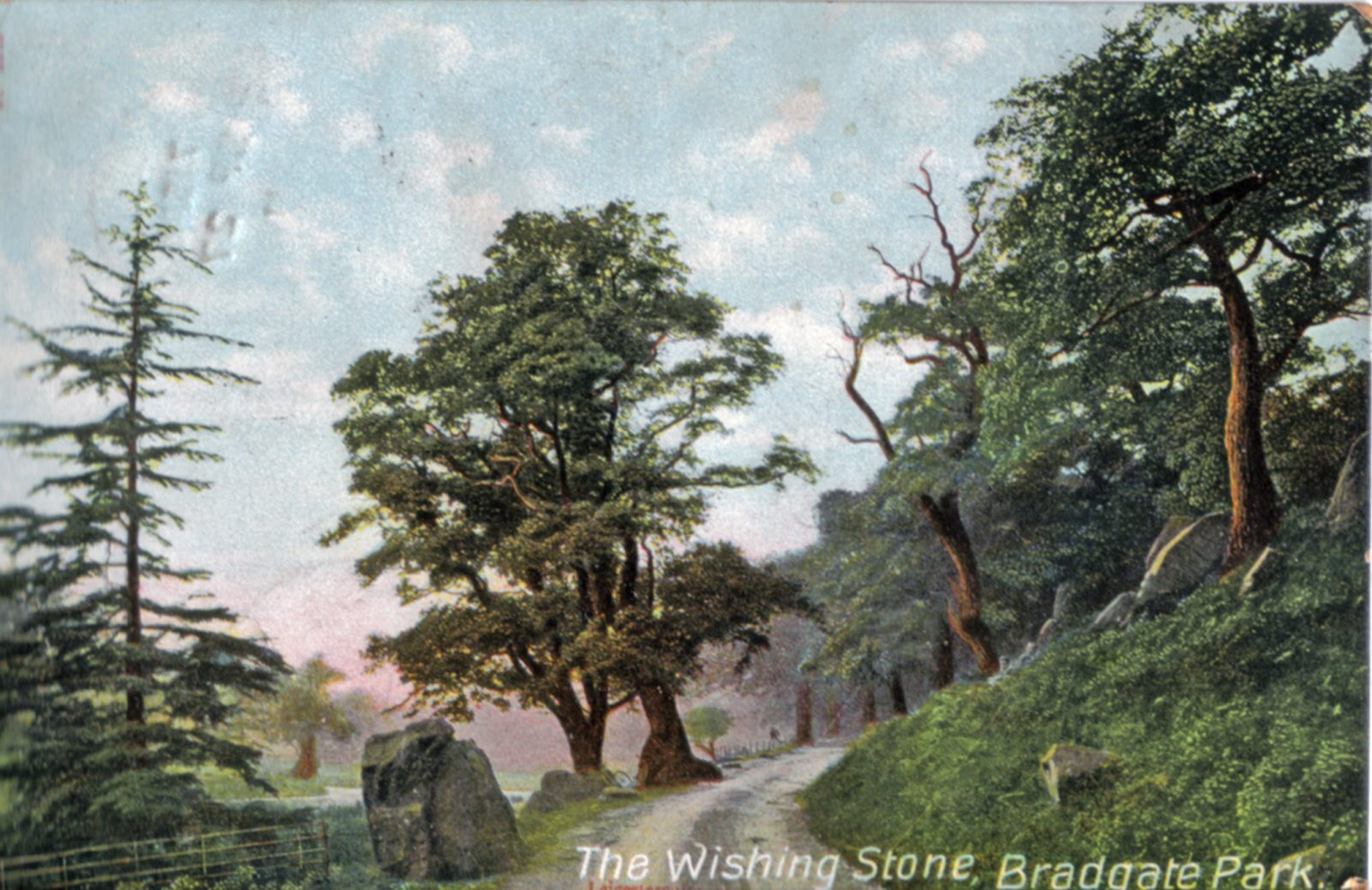 Bradgate Park, Leicester. 1901-1920: The Wishing Stone. Standing Stone. A natural boulder in Bradgate Park about half-way between the Newton Lindford car park and the ruins at Bradgate. Franked 1911 (File:1187)