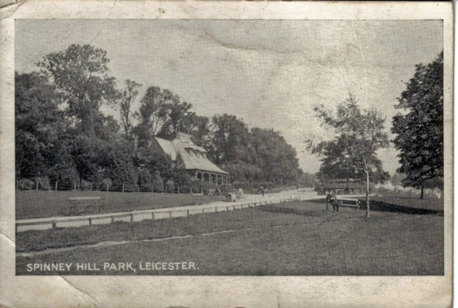 Spinney Hill Park, Leicester. 1901-1920: The Pavilion and broad avenue with children in prams. (File:1199)