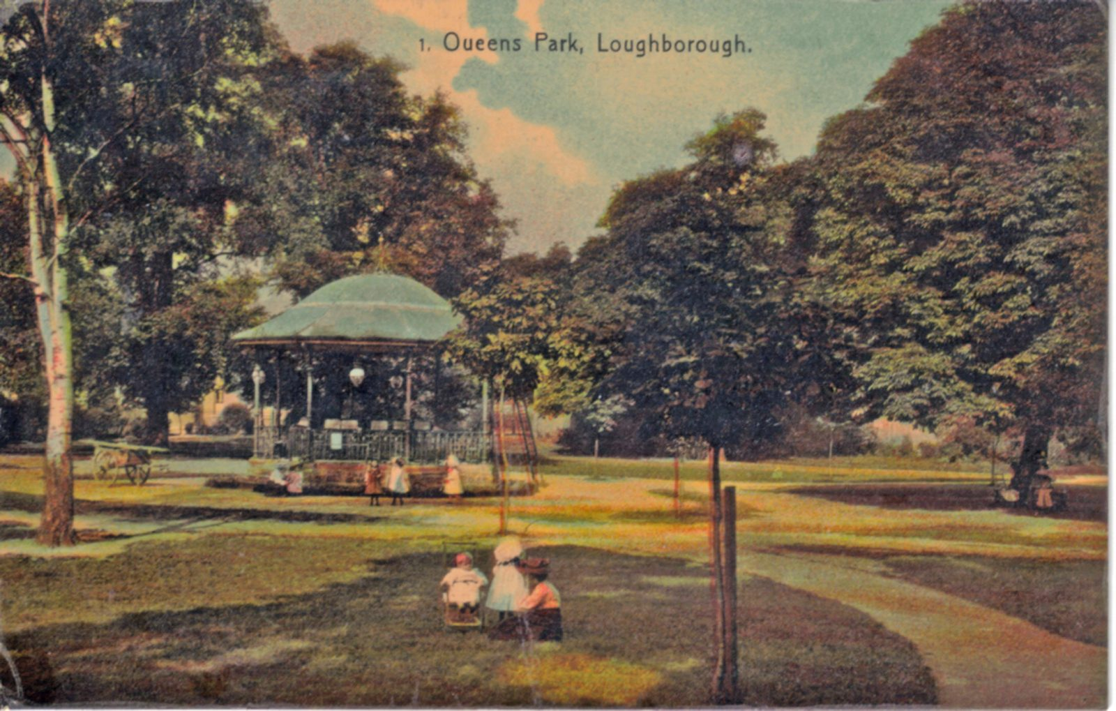 Queens Park, Loughborough. 1921-1940: General view of bandstand. (File:1201)