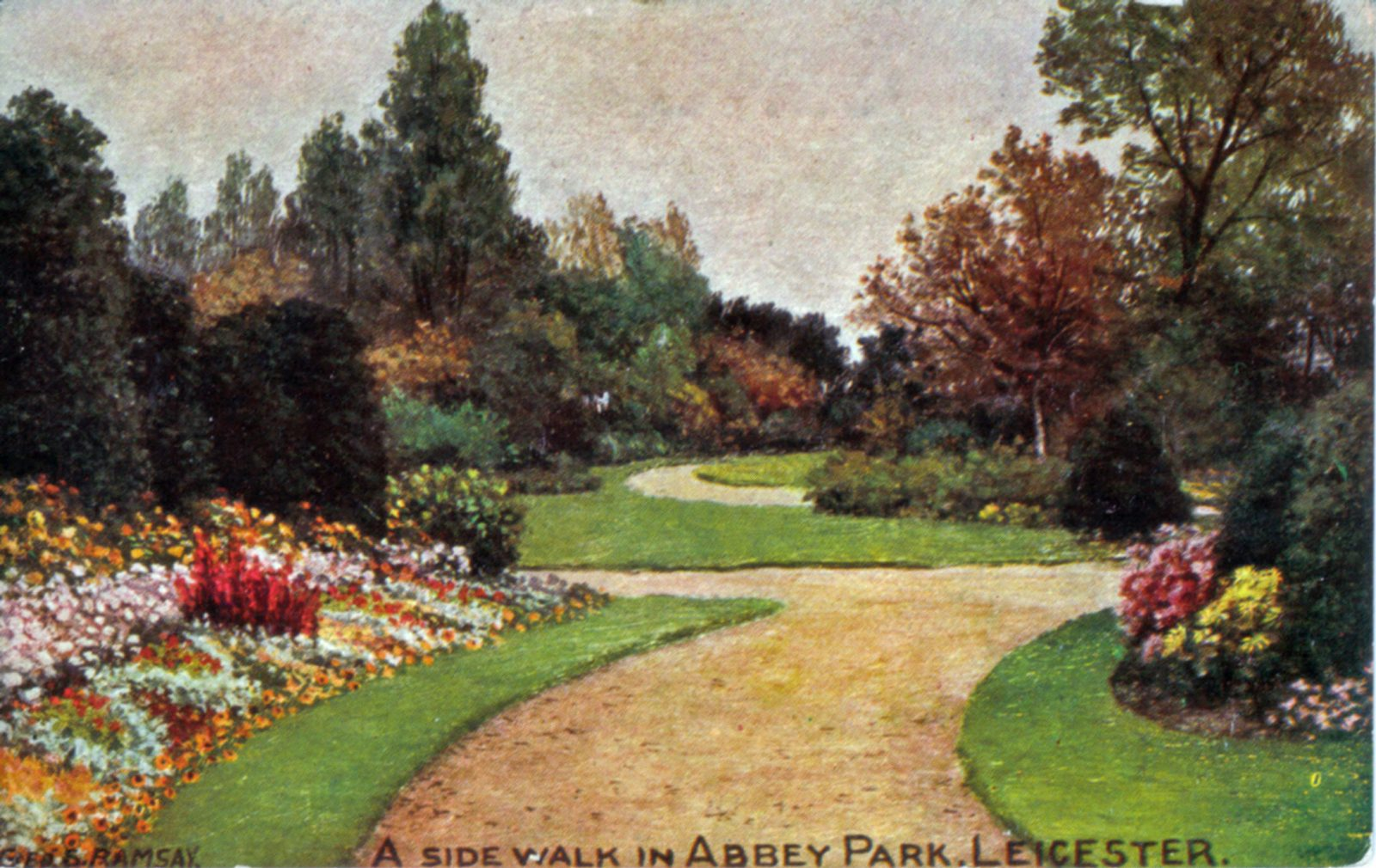 Abbey Park, Leicester. 1901-1920: A side walk in Abbey Park with extensive formal bedding. From an oil painting by Geo. S. Ramsey. Franked 1912 (File:1211)
