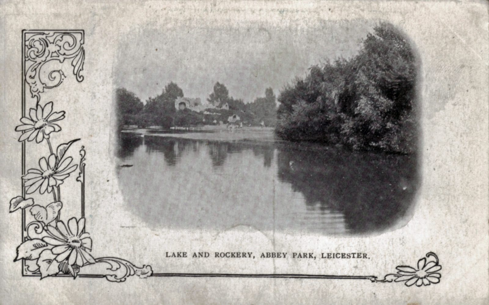 Abbey Park, Leicester. Pre 1900: Lake and rockery. (File:1212)