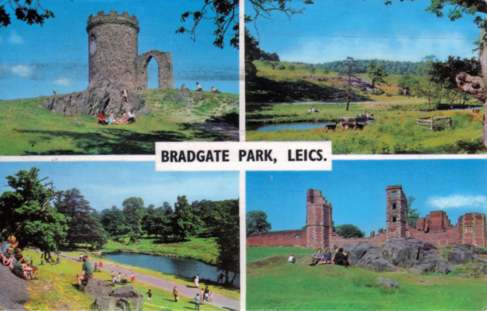 Bradgate Park, Leicester. Post 1960: Multiple views of Bradgate Park, including Old John, The ruins, Little Matlock and Deer. Posted 1971-73 (File:1218)