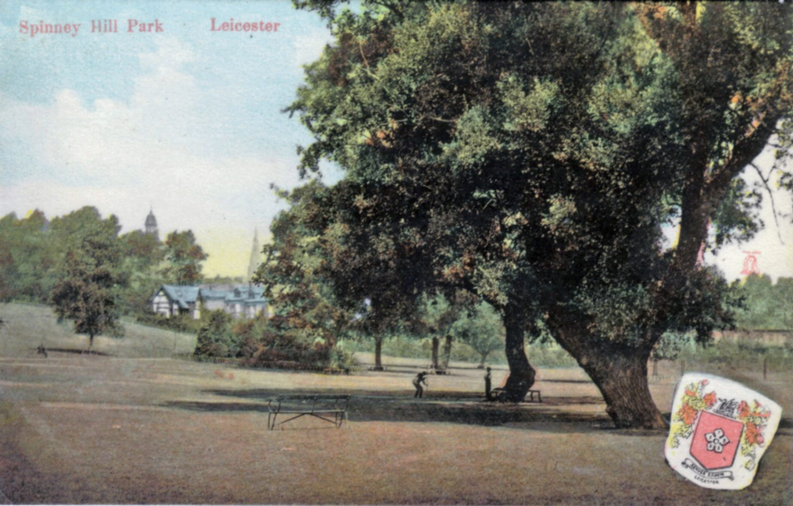 Spinney Hill Park, Leicester. Undated: Open area of park with children playing. (File:1246)