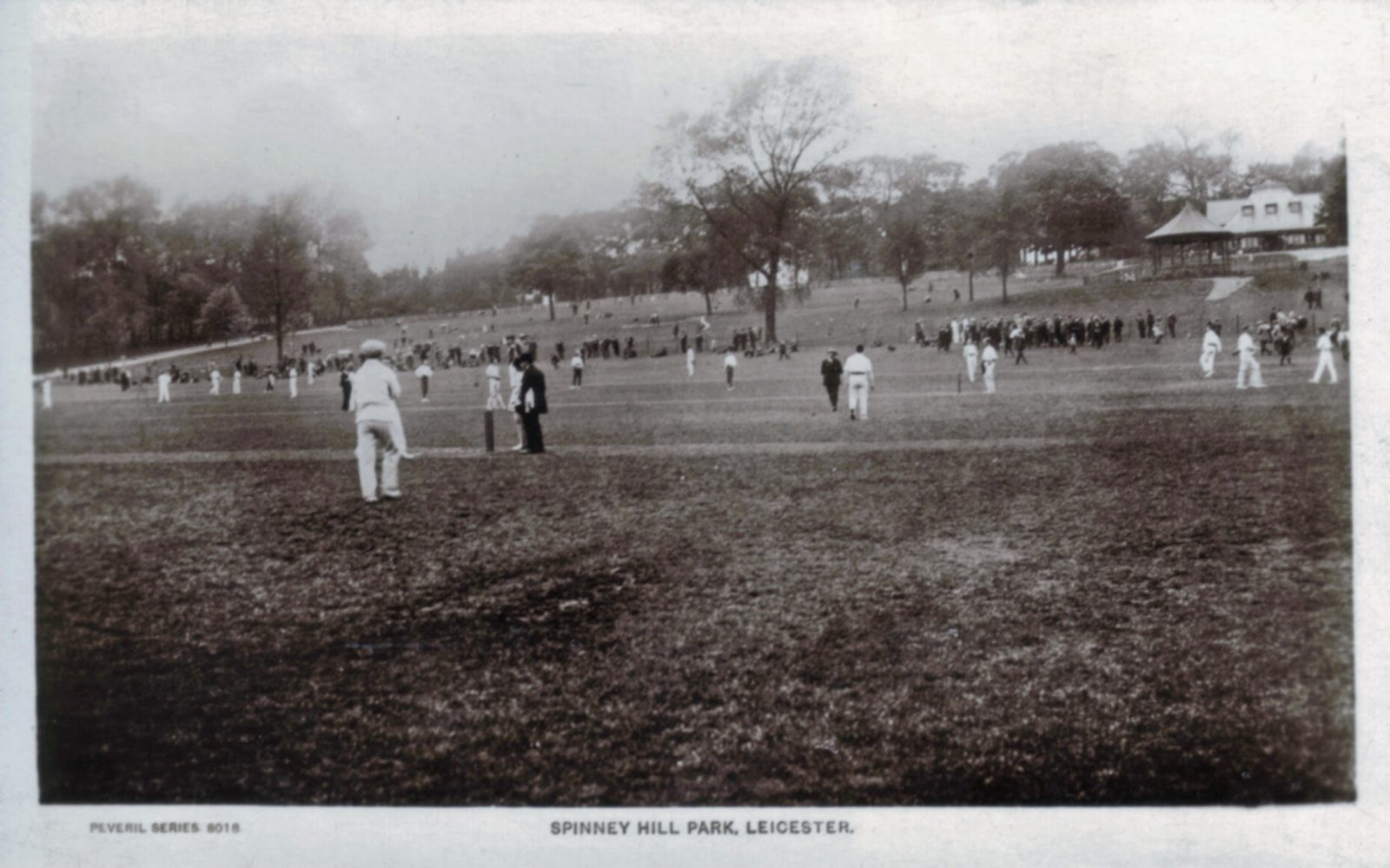Spinney Hill Park, Leicester. Undated: Cricket in the park with pavilion in the background. (File:1247)