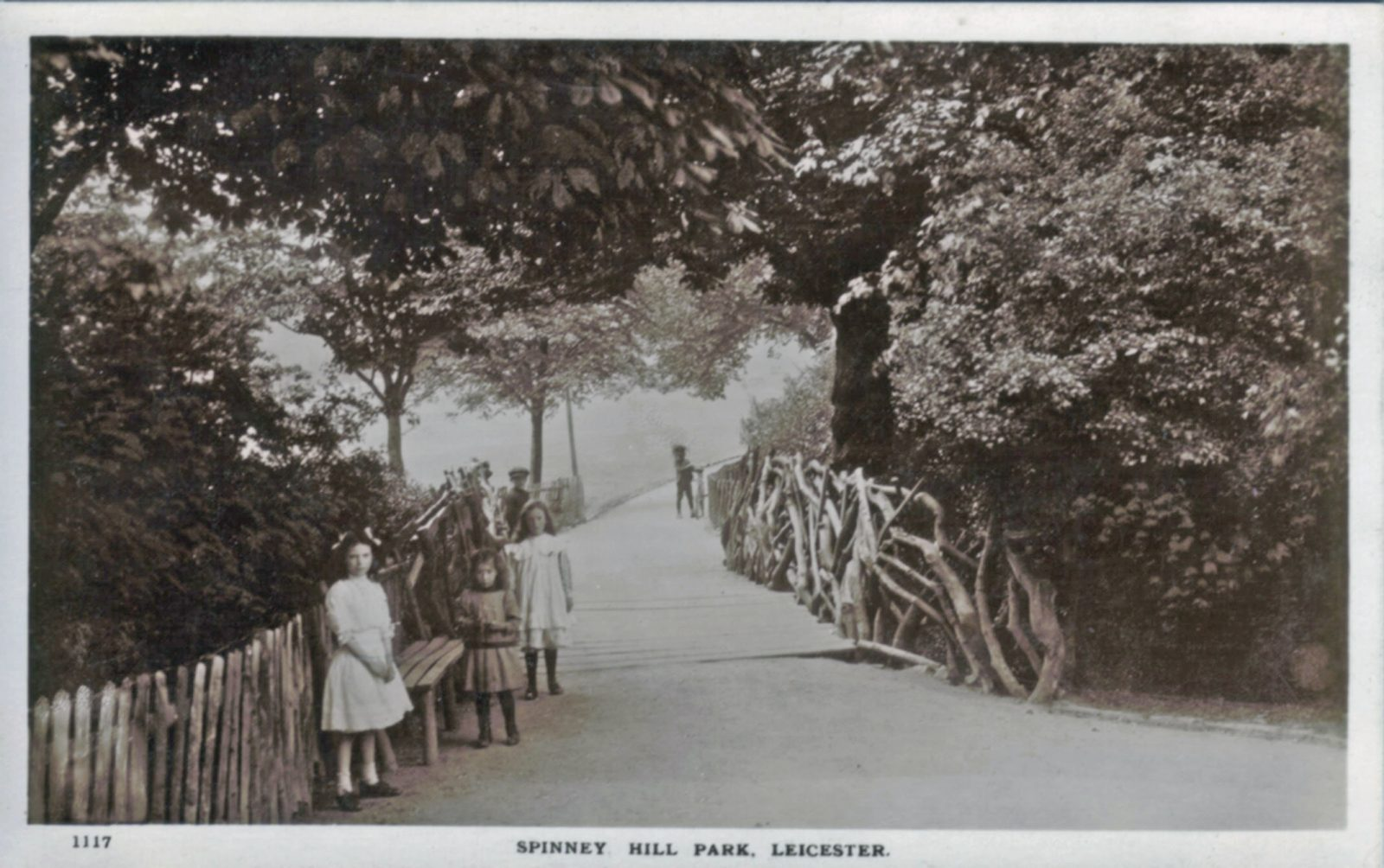 Spinney Hill Park, Leicester. 1901-1920: Path over bridge in the park with several children. (File:1249)