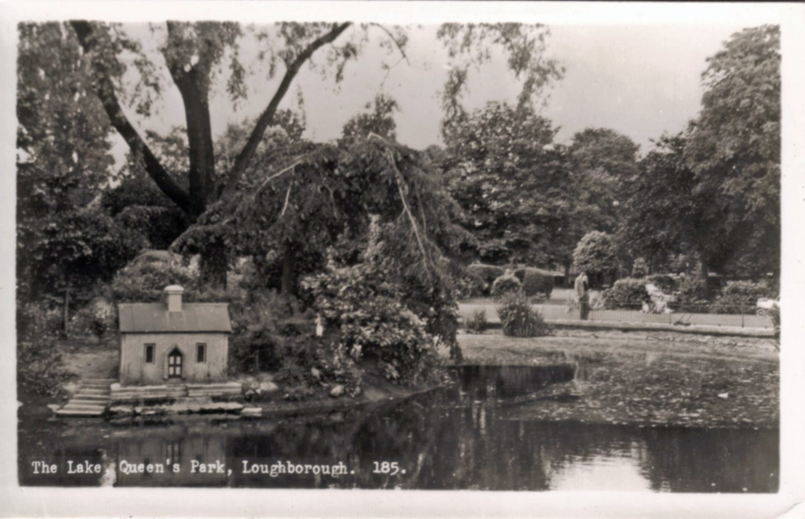 Queens Park, Loughborough. Undated: The lake with duck house. (File:1254)