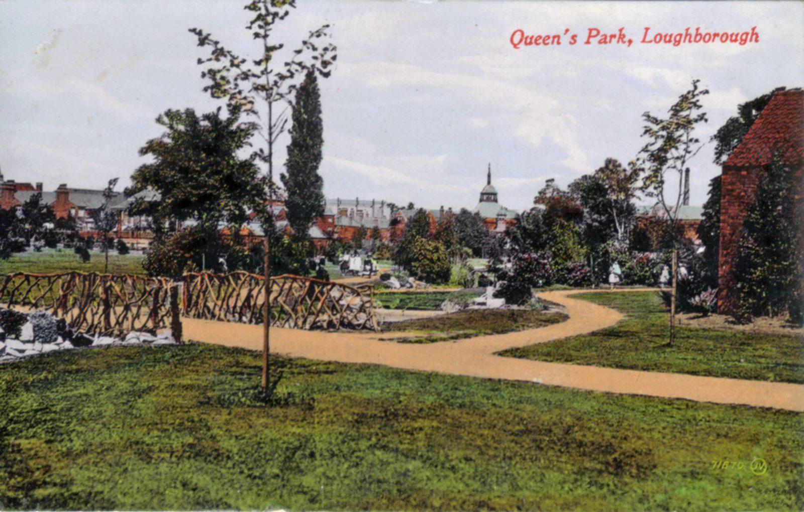 Queens Park, Loughborough. Undated: Bridge in park. Colour version of file 1258 (File:1255)
