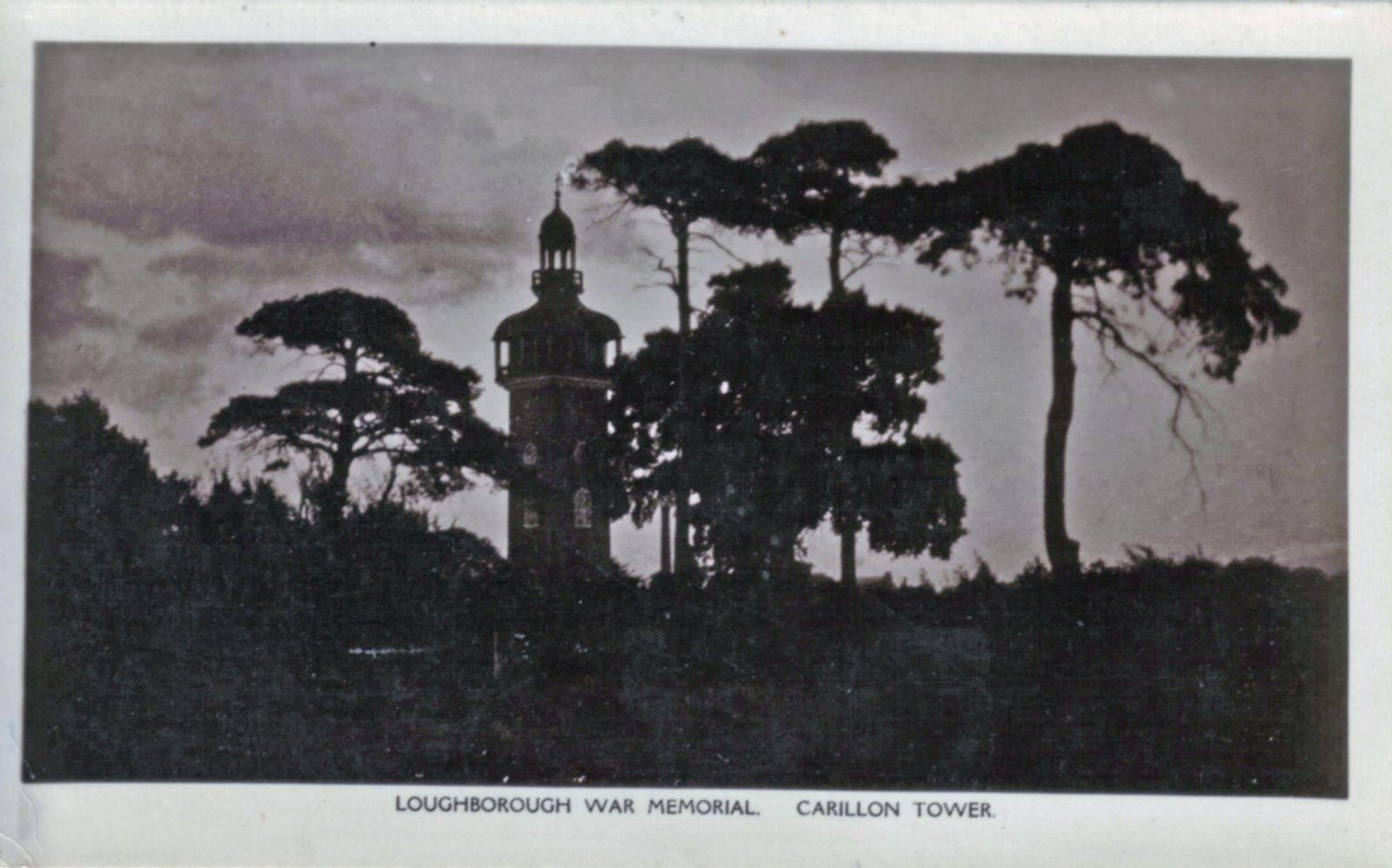 Queens Park, Loughborough. Undated: Loughborough war memorial, Carillon tower. (File:1256)
