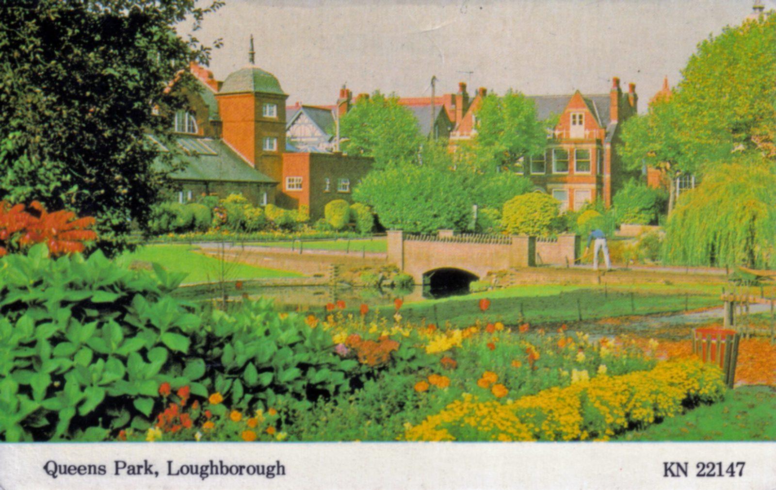 Queens Park, Loughborough. 1941-1960: Bridge and stream in park. (File:1257)
