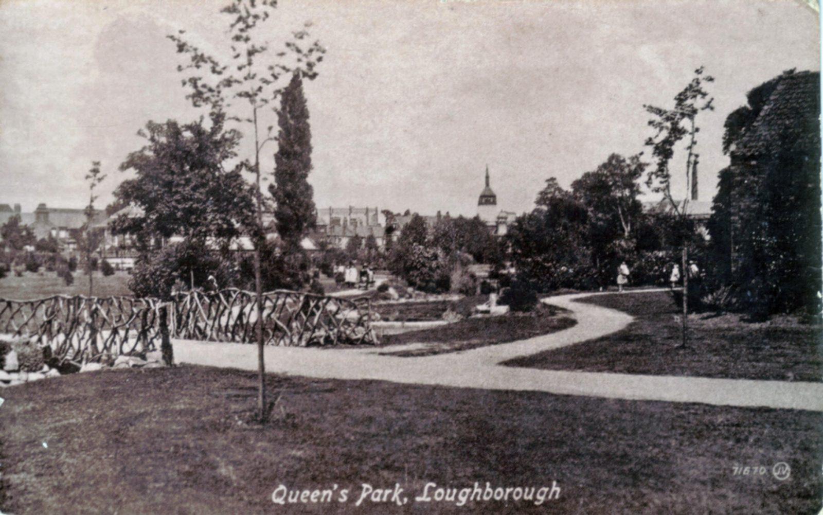 Queens Park, Loughborough. Undated: Rustic bridge and stream in park. (File:1258)