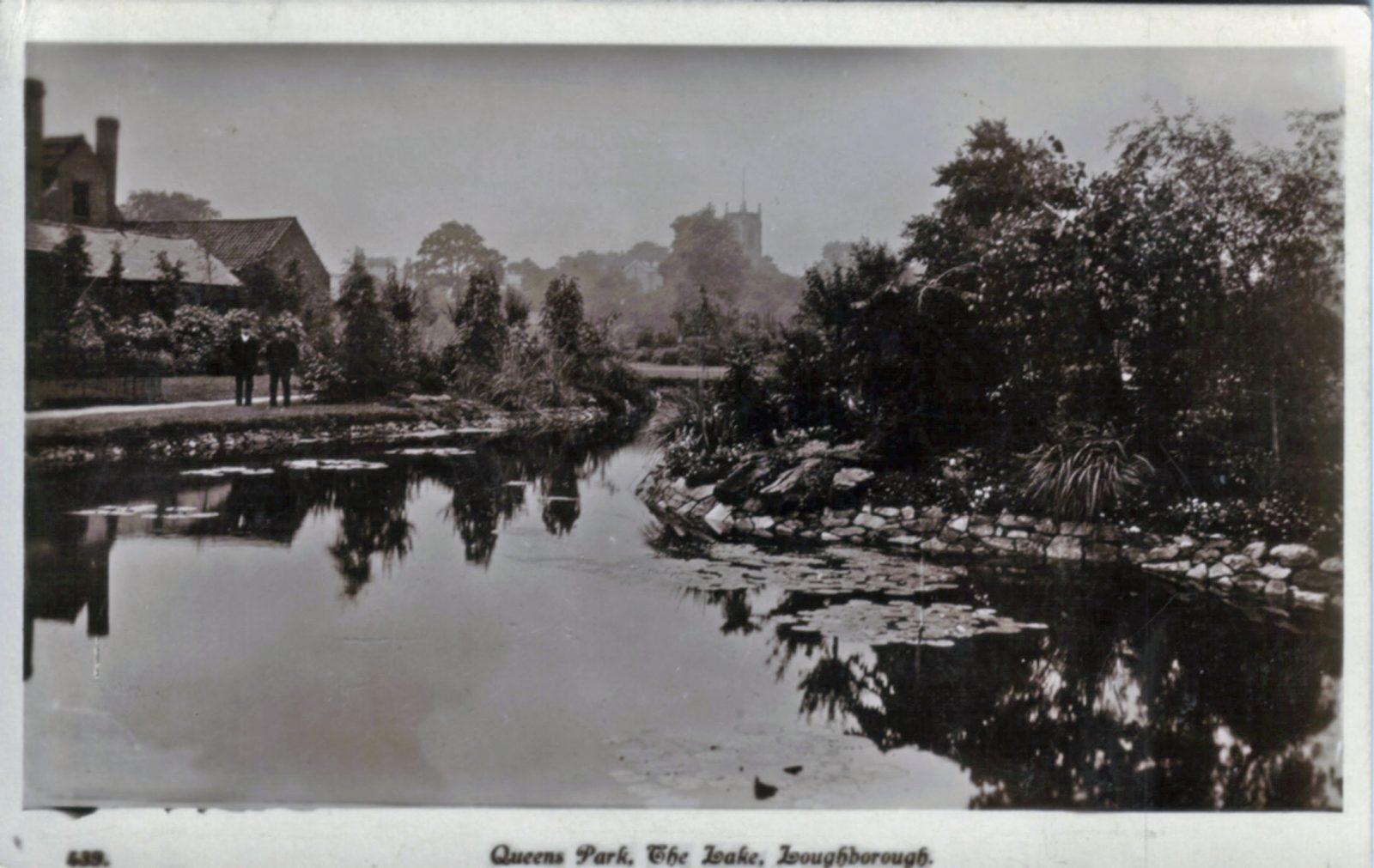 Queens Park, Loughborough. 1921-1940: The lake. (File:1259)