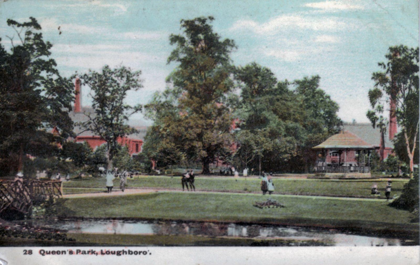 Queens Park, Loughborough. 1901-1920: Rustic bridge and stream in park. Franked 1910 (File:1260)