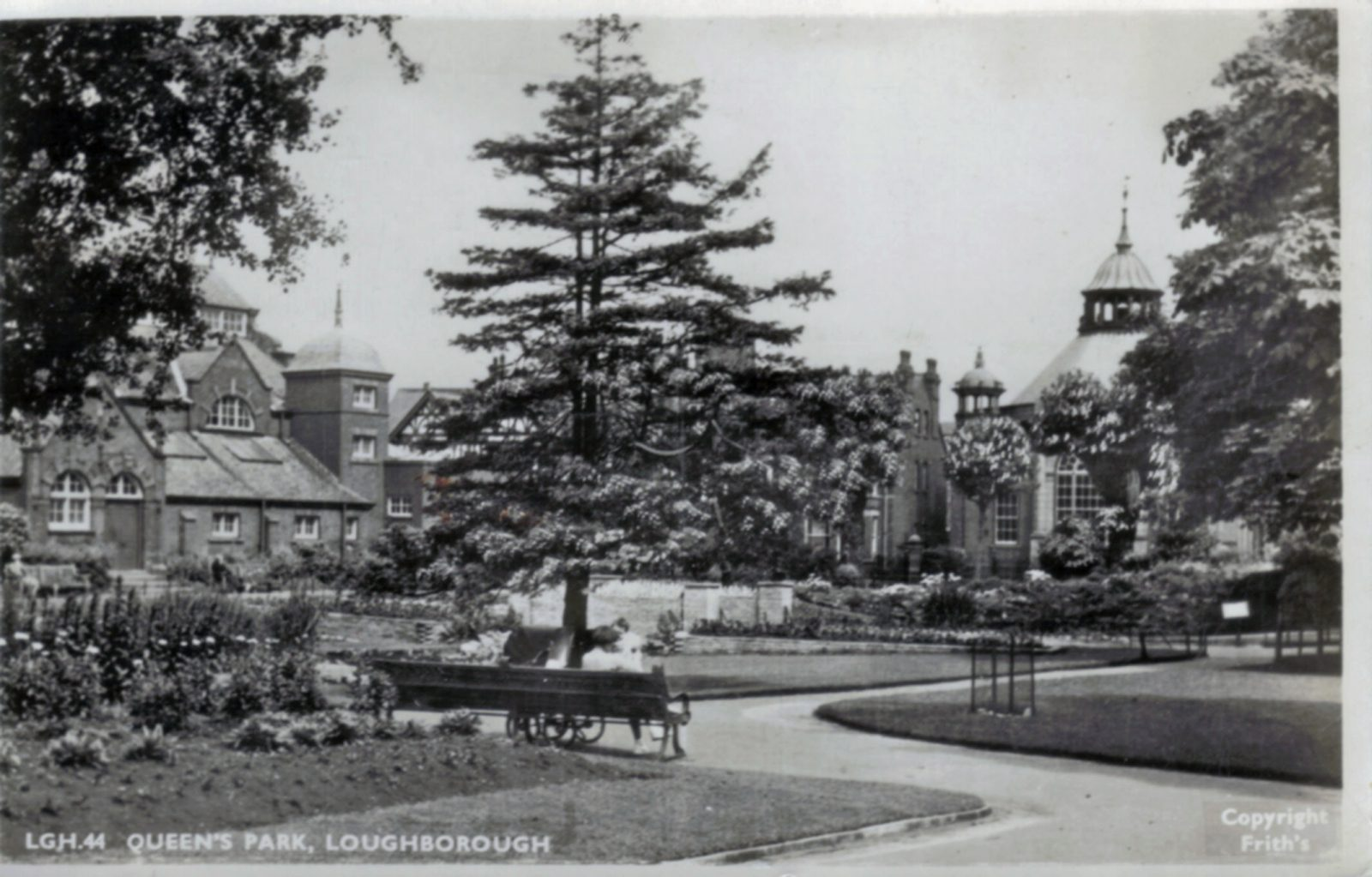 Queens Park, Loughborough. Undated: Seat and formal area. (File:1261)