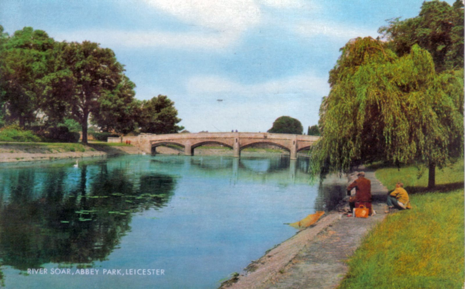 Abbey Park, Leicester. Post 1960: The River Soar, Abbey Bridge . Posted 1973 (File:1262)